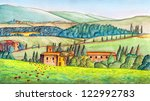 beautiful italian country... | Shutterstock . vector #122992783