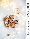 mince pies for christmas on... | Shutterstock . vector #1229948380