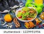 january diet background. diet...   Shutterstock . vector #1229951956
