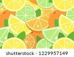 juicy citrus summer pattern in... | Shutterstock .eps vector #1229957149