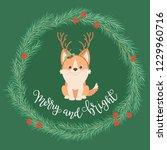 welsh corgi puppy wearing deer... | Shutterstock .eps vector #1229960716