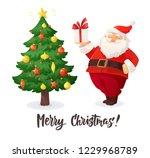 merry christmas card. cartoon... | Shutterstock .eps vector #1229968789