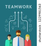team work concept with small... | Shutterstock .eps vector #1229981563