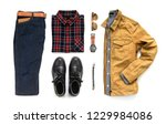 Stock photo creative fashion design for men casual clothing set with black boot watch blue jeans belt 1229984086