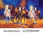 Stock photo seven horse painting significance of seven horse painting in vaastu horses specifically seven 1229984089