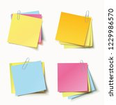 stack of colored stickers... | Shutterstock .eps vector #1229986570