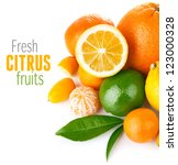 Fresh Citrus Fruit With Green...