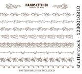 vector set of pattern brushes... | Shutterstock .eps vector #1230010810