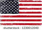 grunge american flag.dirty flag ... | Shutterstock .eps vector #1230012040