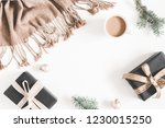 christmas decorations  plaid ... | Shutterstock . vector #1230015250