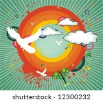 rainbow clouds pigeons and... | Shutterstock .eps vector #12300232