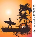 surfer on the beach | Shutterstock .eps vector #12300235