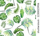 tropical leafage design pattern | Shutterstock . vector #1230025906