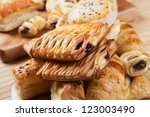 puff pastry with sweet cream... | Shutterstock . vector #123003490
