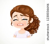 beautiful inconsolably crying... | Shutterstock .eps vector #1230036646