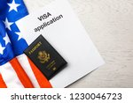 flat lay composition with flag... | Shutterstock . vector #1230046723