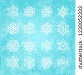 set of white snowflakes... | Shutterstock .eps vector #1230052333