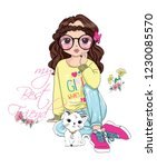 cute girl fashion | Shutterstock .eps vector #1230085570