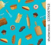 vector cartoon bakery pattern... | Shutterstock .eps vector #1230087913