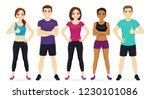 group of fitness people in... | Shutterstock .eps vector #1230101086