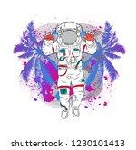illustration of cosmonaut on...   Shutterstock .eps vector #1230101413