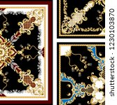 pattern with golden baroque and ... | Shutterstock .eps vector #1230103870