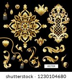 golden baroque and knotting... | Shutterstock .eps vector #1230104680
