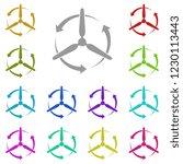wind turbine icon in multi...