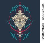 sacred geometry design with... | Shutterstock .eps vector #1230124636