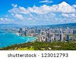 beautiful skyline of oahu hawaii | Shutterstock . vector #123012793