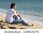 man thinking and watching the... | Shutterstock . vector #123013270