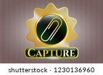 gold shiny emblem with paper... | Shutterstock .eps vector #1230136960