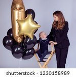 beautiful mother and charming... | Shutterstock . vector #1230158989