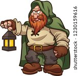 fairy tale medieval dwarf with... | Shutterstock .eps vector #1230159616