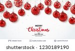 red christmas balls and text on ...   Shutterstock .eps vector #1230189190