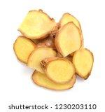 fresh ginger root or rhizome... | Shutterstock . vector #1230203110