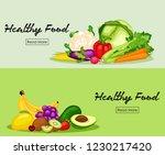 healthy food banners set | Shutterstock .eps vector #1230217420