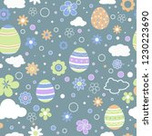 seamless pattern with easter... | Shutterstock .eps vector #1230223690