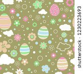 seamless pattern with easter... | Shutterstock .eps vector #1230223693