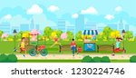 view of colorful cartoon park... | Shutterstock .eps vector #1230224746