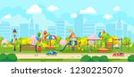 city park with colorful kids... | Shutterstock .eps vector #1230225070