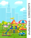 colorful playground with child... | Shutterstock .eps vector #1230225073