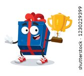 cartoon blue box with a gift... | Shutterstock .eps vector #1230229399
