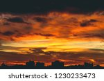 cityscape with vivid fiery dawn.... | Shutterstock . vector #1230233473
