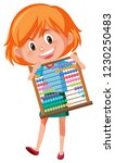 a girl holding abacus... | Shutterstock .eps vector #1230250483