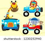 vector set of funny animals on... | Shutterstock .eps vector #1230252940
