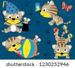 vector set of cute kitten... | Shutterstock .eps vector #1230252946