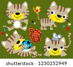 vector set of funny cat cartoon | Shutterstock .eps vector #1230252949