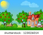 background cartoon house... | Shutterstock . vector #123026014