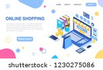 online shopping. isometric 3d... | Shutterstock .eps vector #1230275086